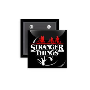 Stranger Things upside down, Κονκάρδα παραμάνα τετράγωνη 5x5cm