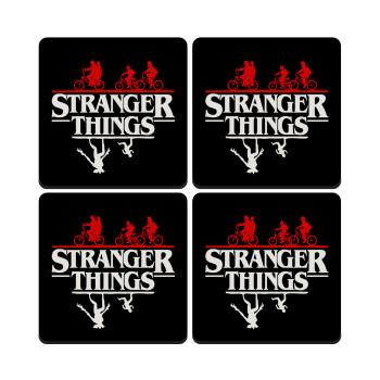 Stranger Things upside down, ΣΕΤ 4 Σουβέρ ξύλινα τετράγωνα
