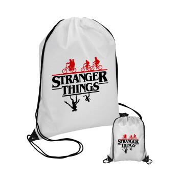 Stranger Things upside down, Τσάντα πουγκί με μαύρα κορδόνια 45χ35cm (1 τεμάχιο)