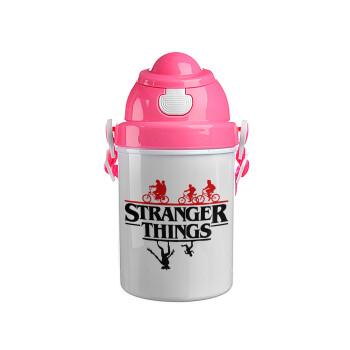 Stranger Things upside down, Ροζ παιδικό παγούρι πλαστικό με καπάκι ασφαλείας, κορδόνι και καλαμάκι, 400ml