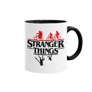 Stranger Things upside down, Κούπα χρωματιστή μαύρη, κεραμική, 330ml