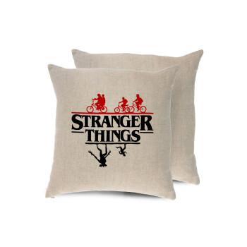 Stranger Things upside down, Μαξιλάρι καναπέ ΛΙΝΟ 40x40cm περιέχεται το γέμισμα