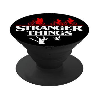 Stranger Things upside down, Pop Socket Μαύρο Βάση Στήριξης Κινητού στο Χέρι