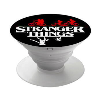 Stranger Things upside down, Pop Socket Λευκό Βάση Στήριξης Κινητού στο Χέρι