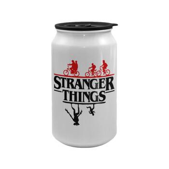 Stranger Things upside down, Κούπα ταξιδιού μεταλλική με καπάκι (tin-can) 500ml
