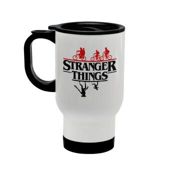 Stranger Things upside down, Κούπα ταξιδιού ανοξείδωτη με καπάκι, διπλού τοιχώματος (θερμό) λευκή 450ml