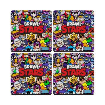 Brawl Stars characters, ΣΕΤ 4 Σουβέρ ξύλινα τετράγωνα