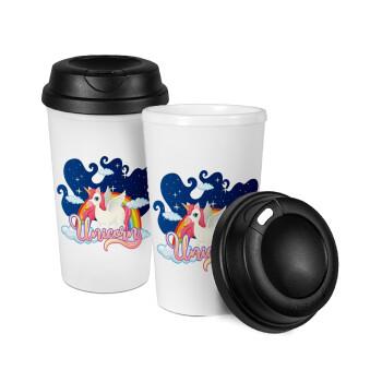 Μονόκερος, Κούπα ταξιδιού πλαστικό (BPA-FREE) με καπάκι βιδωτό, διπλού τοιχώματος (θερμό) 330ml (1 τεμάχιο)