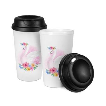 Λευκός κύκνος, Κούπα ταξιδιού πλαστικό (BPA-FREE) με καπάκι βιδωτό, διπλού τοιχώματος (θερμό) 330ml (1 τεμάχιο)