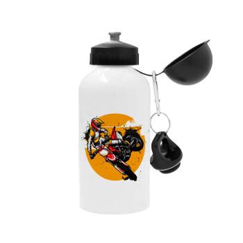 Motocross, Μεταλλικό παγούρι ποδηλάτου, Λευκό, αλουμινίου 500ml