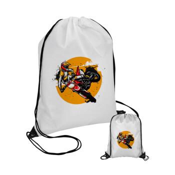 Motocross, Τσάντα πουγκί με μαύρα κορδόνια 45χ35cm (1 τεμάχιο)