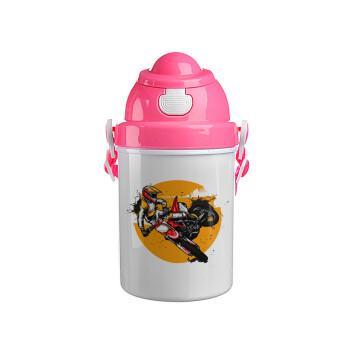 Motocross, Ροζ παιδικό παγούρι πλαστικό (BPA-FREE) με καπάκι ασφαλείας, κορδόνι και καλαμάκι, 400ml