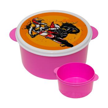 Motocross, ΡΟΖ παιδικό δοχείο φαγητού πλαστικό (BPA-FREE) Lunch Βox M16 x Π16 x Υ8cm