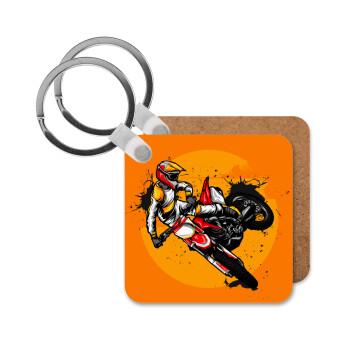 Motocross, Μπρελόκ Ξύλινο τετράγωνο MDF 5cm (3mm πάχος)