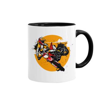 Motocross, Κούπα χρωματιστή μαύρη, κεραμική, 330ml