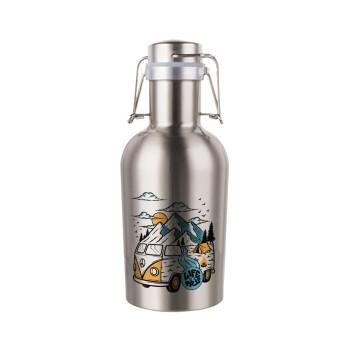Life is a trip, Μεταλλικό παγούρι Inox (Stainless steel) με καπάκι ασφαλείας 1L