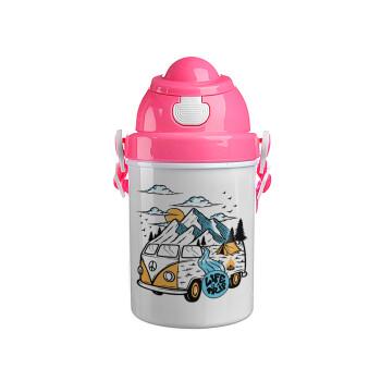 Life is a trip, Ροζ παιδικό παγούρι πλαστικό (BPA-FREE) με καπάκι ασφαλείας, κορδόνι και καλαμάκι, 400ml