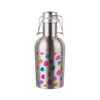 Watercolor dots, Μεταλλικό παγούρι Inox (Stainless steel) με καπάκι ασφαλείας 1L