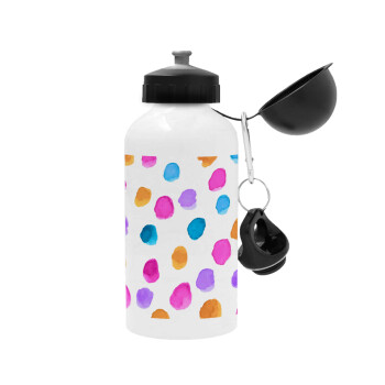 Watercolor dots, Μεταλλικό παγούρι ποδηλάτου, Λευκό, αλουμινίου 500ml