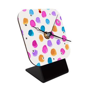 Watercolor dots, Επιτραπέζιο ρολόι ξύλινο με δείκτες (10cm)