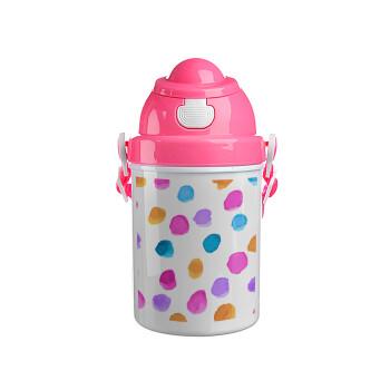 Watercolor dots, Ροζ παιδικό παγούρι πλαστικό (BPA-FREE) με καπάκι ασφαλείας, κορδόνι και καλαμάκι, 400ml