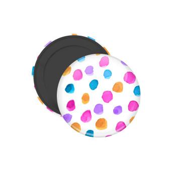 Watercolor dots, Μαγνητάκι ψυγείου στρογγυλό διάστασης 5cm