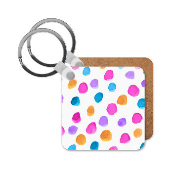 Watercolor dots, Μπρελόκ Ξύλινο τετράγωνο MDF 5cm (3mm πάχος)