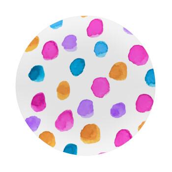 Watercolor dots, Mousepad Στρογγυλό 20cm