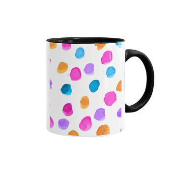 Watercolor dots, Κούπα χρωματιστή μαύρη, κεραμική, 330ml
