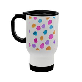 Watercolor dots, Κούπα ταξιδιού ανοξείδωτη με καπάκι, διπλού τοιχώματος (θερμό) λευκή 450ml