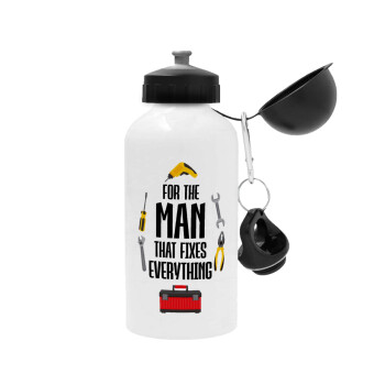 For the man that fixes everything!, Μεταλλικό παγούρι ποδηλάτου, Λευκό, αλουμινίου 500ml