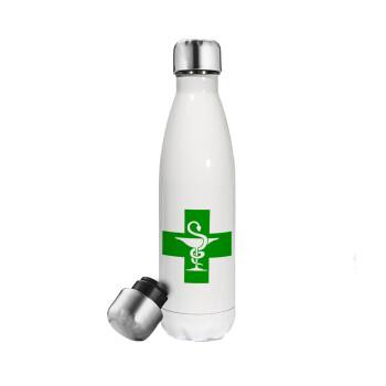 Φαρμακείο, Μεταλλικό παγούρι θερμός Λευκό (Stainless steel), διπλού τοιχώματος, 500ml