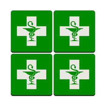Φαρμακείο, ΣΕΤ 4 Σουβέρ ξύλινα τετράγωνα