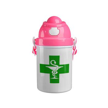Φαρμακείο, Ροζ παιδικό παγούρι πλαστικό (BPA-FREE) με καπάκι ασφαλείας, κορδόνι και καλαμάκι, 400ml