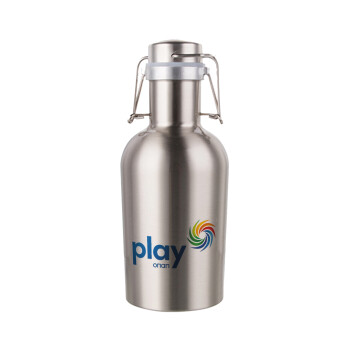 Play by ΟΠΑΠ, Μεταλλικό παγούρι Inox (Stainless steel) με καπάκι ασφαλείας 1L