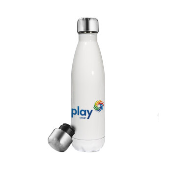 Play by ΟΠΑΠ, Μεταλλικό παγούρι θερμός Λευκό (Stainless steel), διπλού τοιχώματος, 500ml