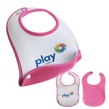 Play by ΟΠΑΠ, Σαλιάρα μωρού Ροζ κοριτσάκι, 100% Neoprene (18x19cm)