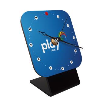 Play by ΟΠΑΠ, Επιτραπέζιο ρολόι ξύλινο με δείκτες (10cm)