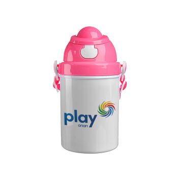 Play by ΟΠΑΠ, Ροζ παιδικό παγούρι πλαστικό (BPA-FREE) με καπάκι ασφαλείας, κορδόνι και καλαμάκι, 400ml