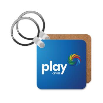 Play by ΟΠΑΠ, Μπρελόκ Ξύλινο τετράγωνο MDF 5cm (3mm πάχος)