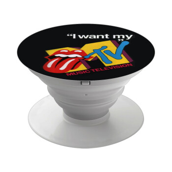 I want my MTV, Pop Socket Λευκό Βάση Στήριξης Κινητού στο Χέρι