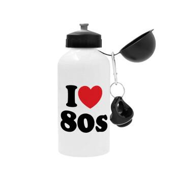 I Love 80s, Μεταλλικό παγούρι ποδηλάτου, Λευκό, αλουμινίου 500ml