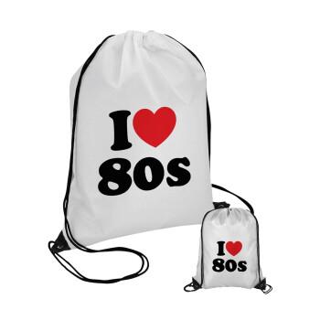 I Love 80s, Τσάντα πουγκί με μαύρα κορδόνια 45χ35cm (1 τεμάχιο)