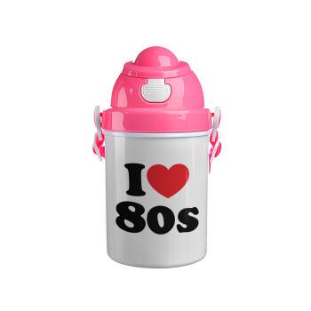 I Love 80s, Ροζ παιδικό παγούρι πλαστικό (BPA-FREE) με καπάκι ασφαλείας, κορδόνι και καλαμάκι, 400ml
