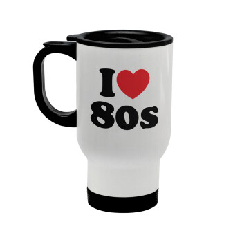 I Love 80s, Κούπα ταξιδιού ανοξείδωτη με καπάκι, διπλού τοιχώματος (θερμό) λευκή 450ml