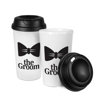 The Groom, Κούπα ταξιδιού πλαστικό (BPA-FREE) με καπάκι βιδωτό, διπλού τοιχώματος (θερμό) 330ml (1 τεμάχιο)