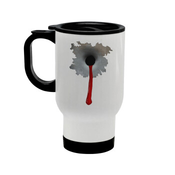 Bullet holes, Κούπα ταξιδιού ανοξείδωτη με καπάκι, διπλού τοιχώματος (θερμό) λευκή 450ml