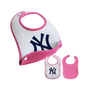 New York , Σαλιάρα μωρού Ροζ κοριτσάκι, 100% Neoprene (18x19cm)