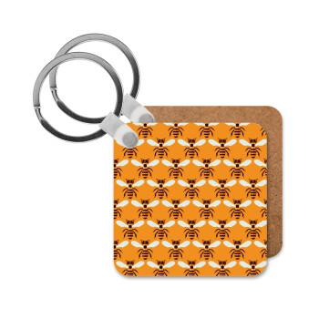 Μελισσούλες, Μπρελόκ Ξύλινο τετράγωνο MDF 5cm (3mm πάχος)