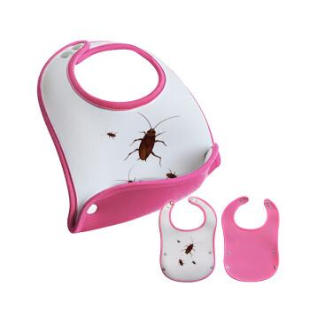 Κατσαρίδα, Σαλιάρα μωρού Ροζ κοριτσάκι, 100% Neoprene (18x19cm)